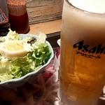 南国酒場リバーサイド - お通しと生ビール