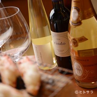蟹料理に合うワインを揃えてあります
