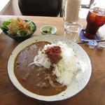 森のおうち - 淡路島玉ねぎと手作りすじぼっかけのコトコトカレー(サラダ付)とプレミアムコーヒー(ICE)