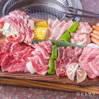 3〜5人でいろいろな種類の肉を食べられる『牛太盛り』