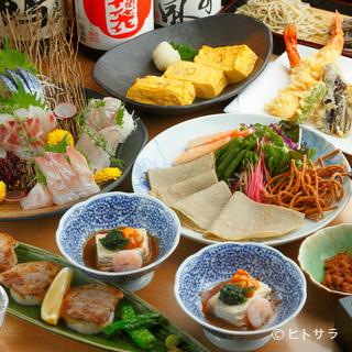 季節の献立コースは2〜3名様で。山海の幸と蕎麦料理をどうぞ。