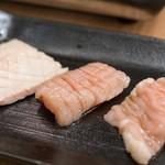 厳選 神の赤肉 - 2017.4 コリコリ(120円)、ミノ(150円)、しま腸(120円)