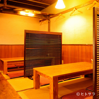 和モダンな落ち着いた座敷席でゆっくりと楽しめます!