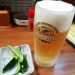 粋仙 - 凍ったグラスの生ビール