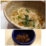 四季彩家 ろく - ◆〆は「五島うどん」、福島産の調味料にヒントを得たとういう辛味調味料を入れるといいアクセントになります。