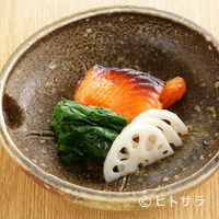 新宿割烹 中嶋 - 『サーモンの西京焼き ちぢみほうれん草ソテー 酢ばす』