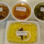 65438952 - 私の定番① レモンライス 、キーマカレー(伊勢丹のキーマカレーはグリーンピースの代わりにシメジが入っていて美味)、ほうれん草とインドチーズのカレー、海老カレー、各100㌘。