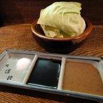 6544826 - 串の調味料(塩・ウスターソース・マスタードソース)