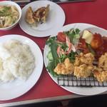 65462630 - 日替わりランチ 唐揚げ,エビのケチャップ煮,餃子,サラダ,スープ(うどん入り)