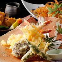白金魚食堂 - 大海老2本付いた贅沢な天婦羅