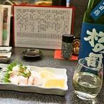 和幸寿司 - 活ふか酢味噌 & 松の司 純米吟醸 ブルー