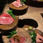 恵比寿焼肉寿司 別邸 - 牛刺し 5種盛り2人前