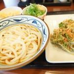 丸亀製麺 - ひやぶ大盛り + 季節のかき揚げ