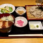 京ヶ島天然温泉 湯都里 - 料理写真:三元豚タレカツ丼 セット(ざる蕎麦大盛り) 1,190円