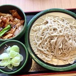 ゆで太郎 - ミニ豚バラ丼セット(大盛)@550円+100円