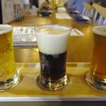 八まる - クラフトビールの3種飲み比べセット(各100ml✕3:680円)はケルシュ、ブラックエール、IPA