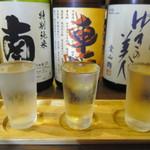 八まる - 「日本酒三種飲み比べセット(1.000円)」は「南」「車坂」「ゆきの美人」
