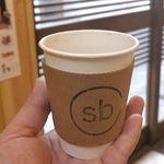 スウィング バイ コーヒー - ということで、今回はマンデリン350円を飲んでみることに。お店の略称なsbのロゴがポイントです。