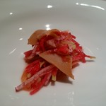 尹家 - 韓国産鮑の薬膳醤油漬けを柚子のソースで