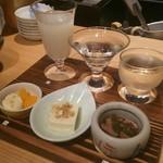 日本酒 室 - 「対」セット 1500円、お酒は左から、竹葉(石川)、大慶(石川)、福井越前岬槽搾り(福井)になります