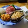 すし市の瀬 - 料理写真:お刺身盛り合わせ(マグロの脳天+ウニ+アワビ)