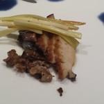鉄板焼 宝伝 - アワビと黄ニラ。もっと食べたかったわ