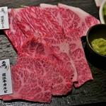 焼肉 霜月 - 霜月近江牛御膳のお肉(カルビ&ロース)