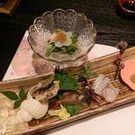 65569180 - 蛤と菜の花の酢味噌和えと刺身