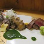 湖粋 - 料理写真:出雲和牛と大山牛のステーキ