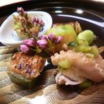 味 ふくしま - 蕗の薹味噌・八幡巻・一寸豆・イイダコと山葵菜のジュレ掛け・胡麻麩・鯛の胡瓜巻