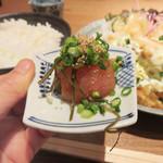 とり田 - 特製辛子明太子250円も追加。 辛さ・塩分控えめで上質な明太子でございました。