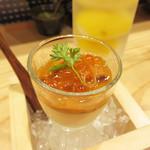 博多天ぷら ながおか - 定番のお通しの雲丹プリン。