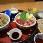 まるやま - 料理写真:彩り2種ミニ籠膳(¥1480税抜き)