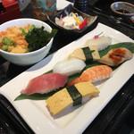 にぎり長次郎 - かき揚げミニうどんと寿司
