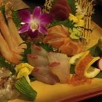 鮮魚個室居酒屋 利休 - 豪華 旬鮮魚のお造り5点盛り合わせ