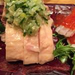 韓国鶏鍋 GOCHU - 蒸し鶏肉の葱塩ソース