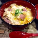 65655128 - 「河内鴨の親子丼」。(小さな蕎麦とセットで税込980円)。