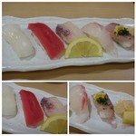 博多音羽鮨  - *烏賊・赤身・カンパチ・鯛・鯵など。 お味は見た目通り