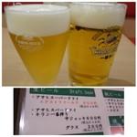 博多音羽鮨  - 中ジョッキ(600円)、グラス(300円)、外税だったような気がしますが・・
