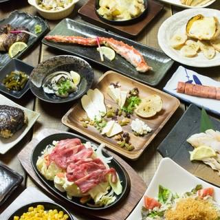 北海道の食材をふんだんに使用した全160品の料理たち。