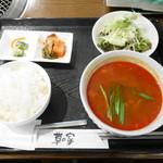 草の家 - ユッケジャンスープ¥850