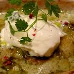 ラザーニャ・ラザーニャ - 海老とマッシュルーム アボカドのジェノベーゼソースラザーニャ マスカルポーネチーズ添え