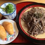 麺や - 料理写真:ざるそば=510円 いなり 2個=100円