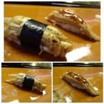 65700757 - ◆あげ巻貝・・旬ですので美味しいそう。 ◆焼き穴子・・普通に美味しいそうな。