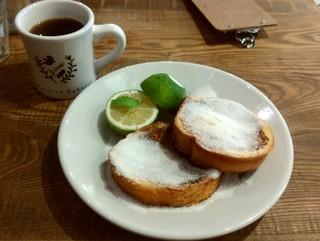 オハコルテベーカリー - ◎おおうえ農園のレモンとシュガーのフレンチトースト & ロングステイコーヒー