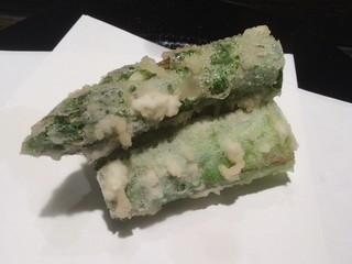天ぷら岡本 - 太いアスパラ
