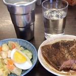 平野屋 - ポテサラ+カレイ煮付け+お酒