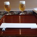 京料理 卯柳 先斗町 花 - ビールで乾杯