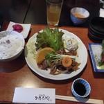 65718800 - 生姜焼きと刺身(ランチプレート)