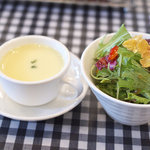 数寄屋バーグ - サラダと冷たいスープ